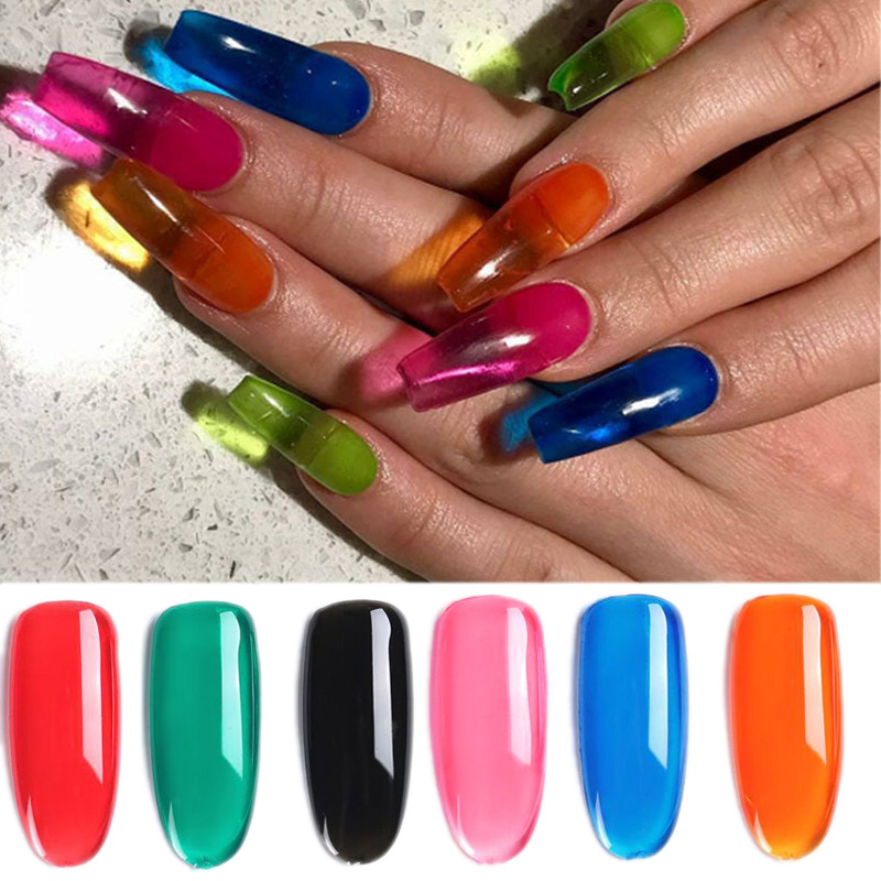 1bottle 8ml Translucent Acrylic Jelly Glass Candy Gel 6colors Summer Attribute Lively color UV Nail Gel Polish in Nail Polish from Beauty Health