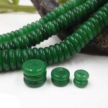 20 шт./лот бусины из натурального камня 6 мм 8 мм 10 мм плоские круглые зеленые Агаты разделительные бусины для поделки из бисера Ювелирных изделий