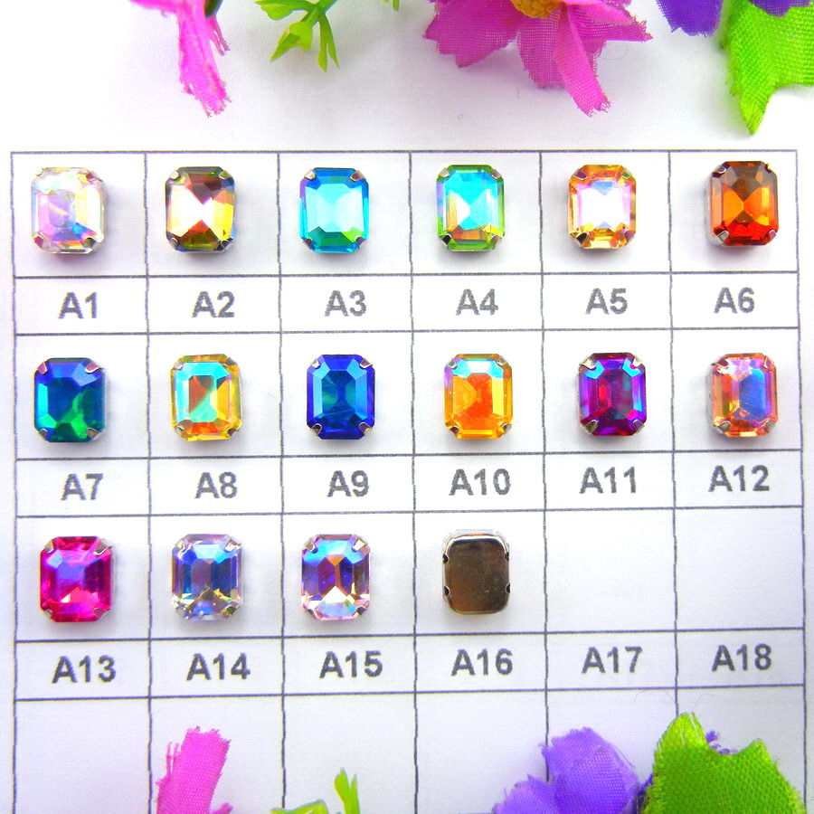 AB colors Silver claw settings 7 Sizes Rectangle shape glass Crystal Sew on rhinestone beads garment accessories trim