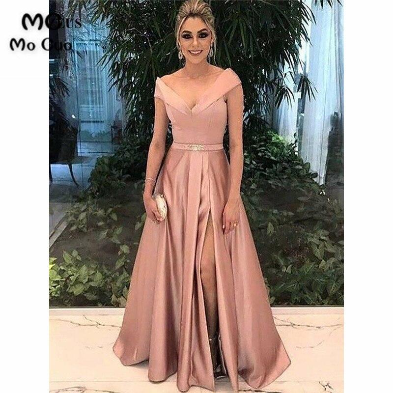 2019 Popular A-Line Off Shoulder   Prom     Dresses   Deep V-Neck   dress   for graduation Satin Front Slit Formal Evening   Prom     Dress