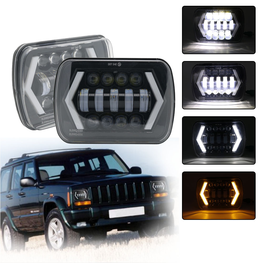 5x7 Inch Headlights 7x6 6X7 Square LED Reflector Replacement with White DRL Yellow Turn Signal