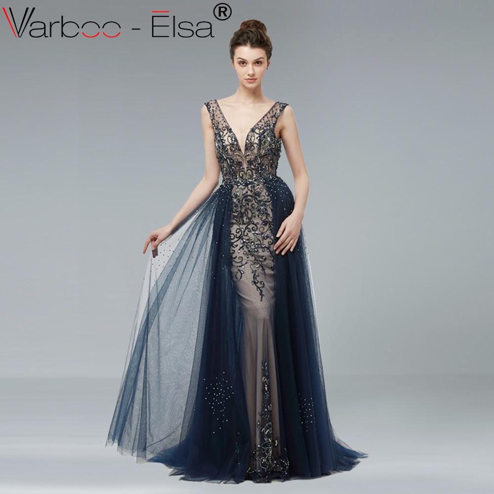 bc6cefcf915c VARBOO_ELSA Sexy Double V-neck Long Prom Dress Sleeveless Navy Blue Tulle Evening  Dress Luxury Beading vestido de festa Backless ~ Super Sale July 2019