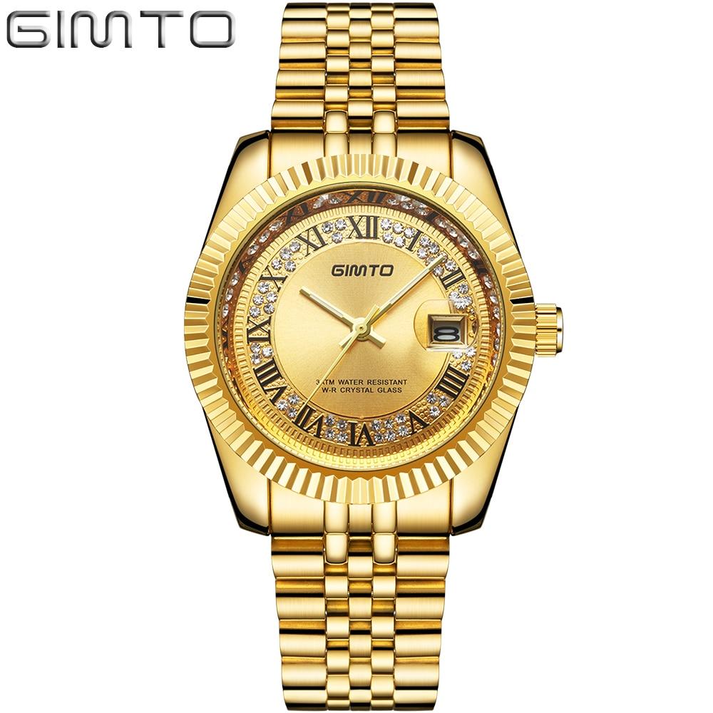 GIMTO Top marca hombres de lujo reloj de oro Calendario de cuarzo relojes deportivos masculinos impermeables reloj de acero Relogio Masculino