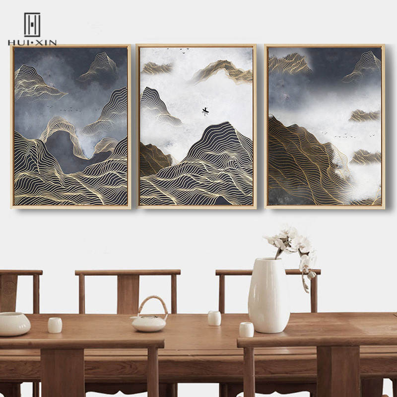 Traditional Chinese Style Mountain River Paintings Unframed Canvas Posters Wall Art Prints For Home Sofa Background Decor