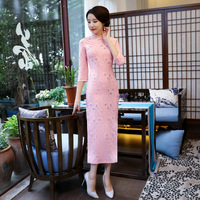 Female Novelty Pink Sexy Lace Flower Qipao Elegant Chinese Traditional Women Dress Handmade Button Plus Size