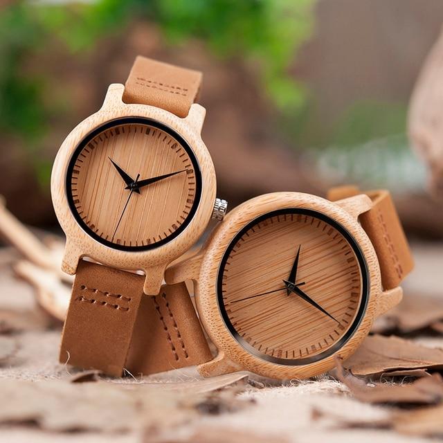 BOBO BIRD A09 السيدات ساعات كوارتز عادية الطبيعية ساعة من خشب الخيزران العلامة التجارية الفريدة ساعات للزوجين في علبة هدية