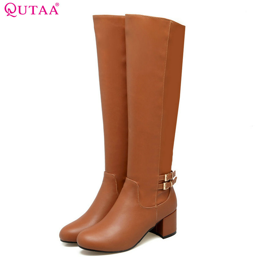 QUTAA 2018 New Pu Leather Women Knee High Boots Fashion Zipper Square High Heel Round Toe All Match Women Boots Size 34-43 nemaone 2018 women ankle boots pu leather square high heel round toe zipper sweet boots all match ladies boots size 34 43