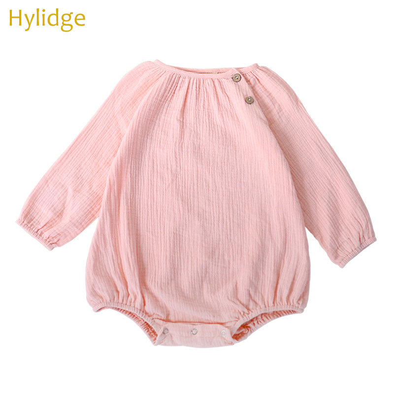 Hylidge Spring Aummer Baby Girl Boy Bodysuits Infants Cotton One-pieces Long-sleeved Romper Children Kids Clothing Pink Grey