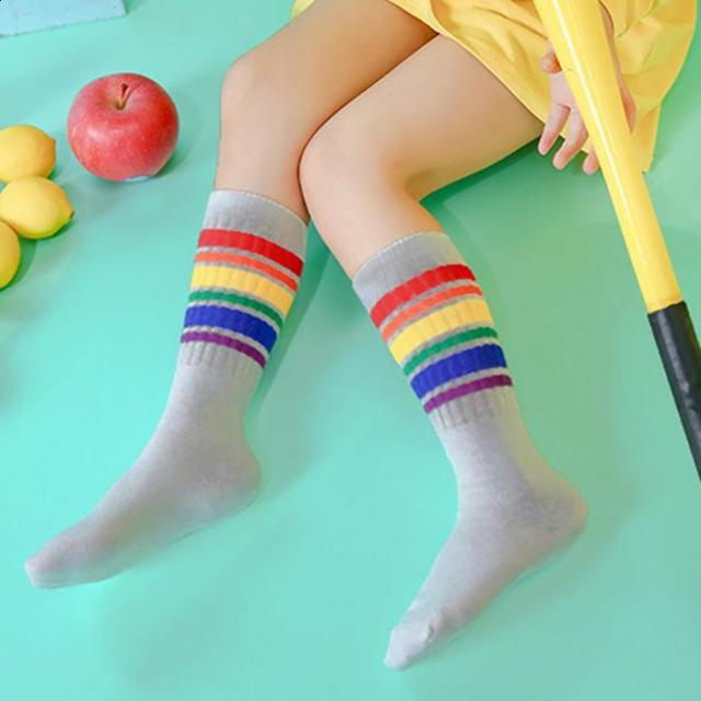 aebcc9388b8 1-10 Years Old Children Socks Color Striped Girls Fashion Rainbow Knee High  Socks Boys Football Stripes Cotton Sports Old School