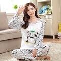 New Outono/Inverno Pijamas Mulheres Pijama Define menina Dos Desenhos Animados camisola para as mulheres do sexo feminino O-pescoço de Manga Comprida Sleepwear frete grátis