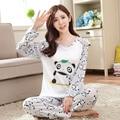 Nuevo Otoño/Invierno Pijamas Mujeres Pijama de Dibujos Animados camisón para las mujeres mujer chica O-cuello de Manga Larga ropa de Noche del envío libre