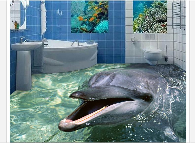 ФОТО 3D Floor painting custom mural beauty 3 d dolphins bathroom floor tile 3 d floor pvc wallpaper home decoration
