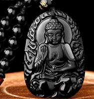 Beautiful Chinese handmade natural Obsidian twelve Chinese Zodiac Buddha necklace, female big day Tathagata Pendant