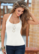 2017 Lady T Shirts Summer Multicolor Pullover O-Neck Solid Color Sleeveless T-Shirts For Women Backless Halter Tops Sexy Party white casual halter sleeveless t shirts