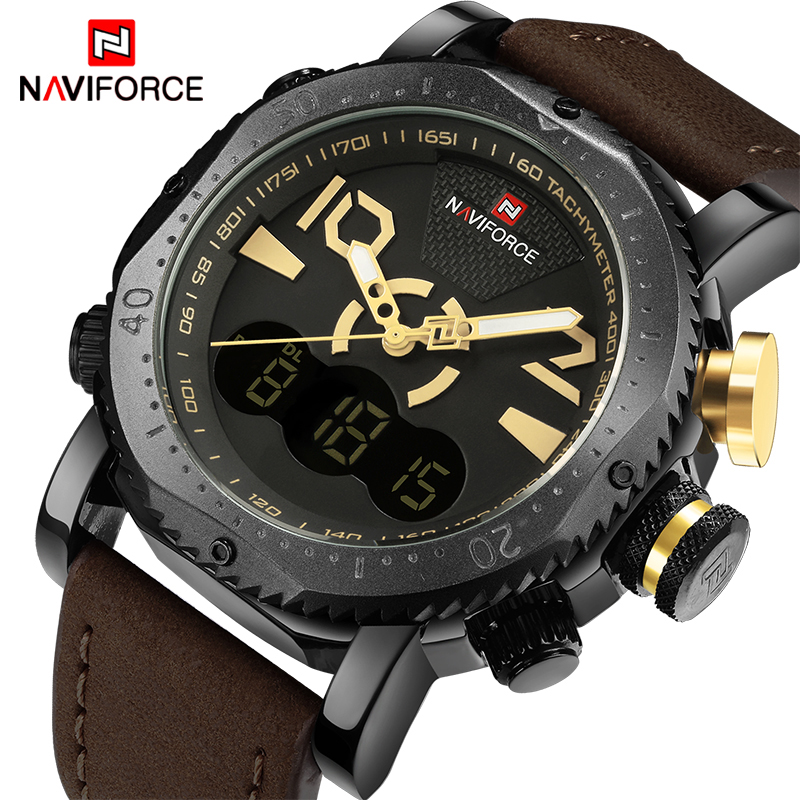 Top Luxury Brand NAVIFORCE Men Sports Watches Men's Digital Quartz Clock Man Fashion Casual Leather Army Military Wrist Watch weide new men quartz casual watch army military sports watch waterproof back light men watches alarm clock multiple time zone