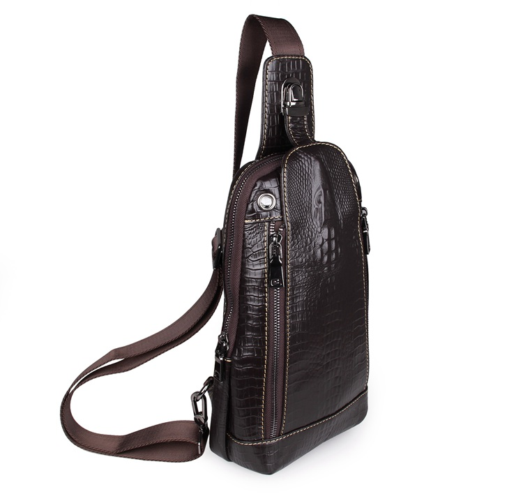ФОТО 7300Q Free Shipping 100% Genuine Leather Alligator Pattern Vintage Funny Pack For Men Chest Bag