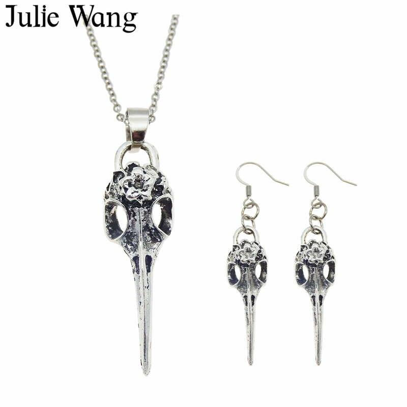 Julie Wang Alloy Raven Bird Beak Skull Necklace Pendants Earrings Jewelry Sets Antique Silver Fashion Women Party Gifts skull necklace raven skull
