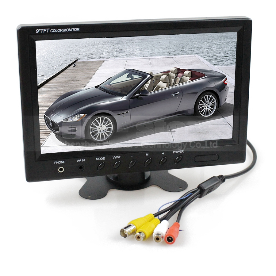 DIYKIT 9 inch TFT LCD Car Monitor Display Car Reverse Rear View Monitor Screen with BNC / AV Input Remote Control DVD VCR diykit 9 inch tft lcd display rear view car mirror monitor with 2 video input for parkign system car ccd camera cam dvd