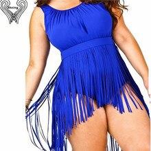 5XL  Fringe One Piece Plus Size Swimwear Women Padded Tank Top Swimsuit High Waist Bathing Suit Extra Large Swimming Suit H216