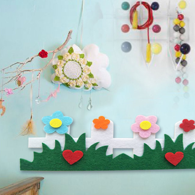 Hot Felt Craft Cloth Felts Cutting Flower Grass Heart Appliques Diy Kids  Room Decoration Stickers Kindergarten Decoration
