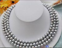 Прекрасный подарок 6,5 7 мм AAA класс белый Akoya Жемчужное ожерелье 34 Твердое 14 k/20 желтое золото