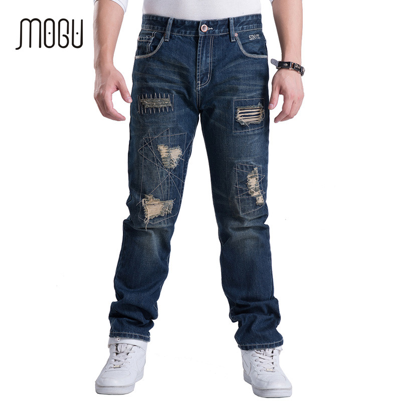 MOGU 2017 Man's Straight Jeans Big Sizes Korean Style Fashion Full Pants Men Holes Cotton Denim Men's Jeans Casual High Quality
