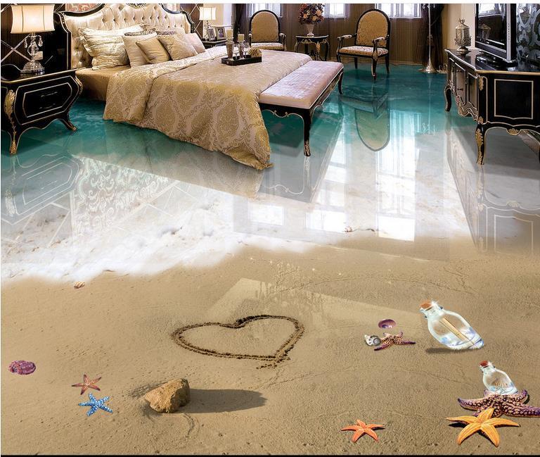 Vinyl Böden Tapete 3d Bodenbelag Strand Meerblick 3d Stereoskopische Tapete  Europäischen Mural Boden