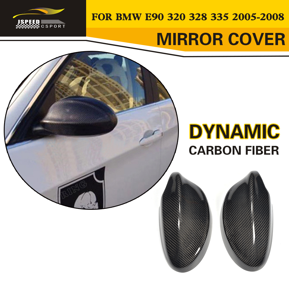 Replacement Styling Carbon Fiber Auto car Side Door Review Mirror Caps Cover For BMW E90 E91 2005-2008 carbon fiber side mirror cover caps overlay for 2005 2006 2007 2008 bmw e90 e91 3 series