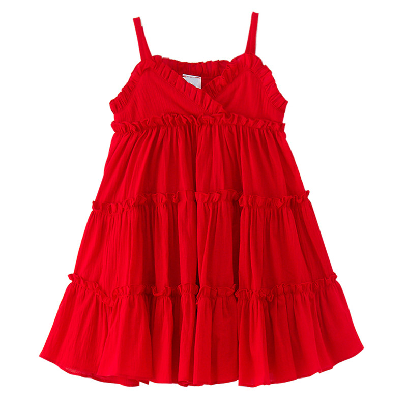 4 to 14 years kids & big teenager girls solid red cotton linen layered ruffle casual dress children fashion summer dresses