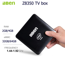 Bben Умные телевизоры Box Wi-Fi Quad Core оперативной памяти 2 ГБ, 32 ГБ EMMC с RJ45 порт media player z8350 Intel Мини-ПК компьютера в поле window10