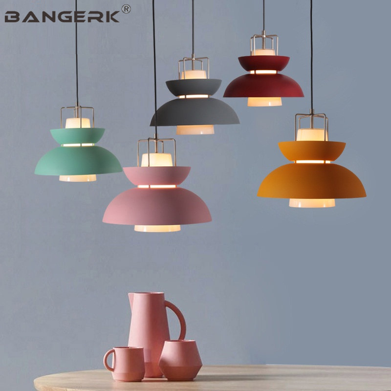 Simple Loft Style Modern LED Pendant Light Glass Iron Color Hanging Lamp Nordic Macarons Home Deco Dining Room Lights Fixtures