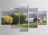 5 Piece Frame Picture On Wall Unique Gift Suburb Villa Green Tree Wall Plaque Posters Painting