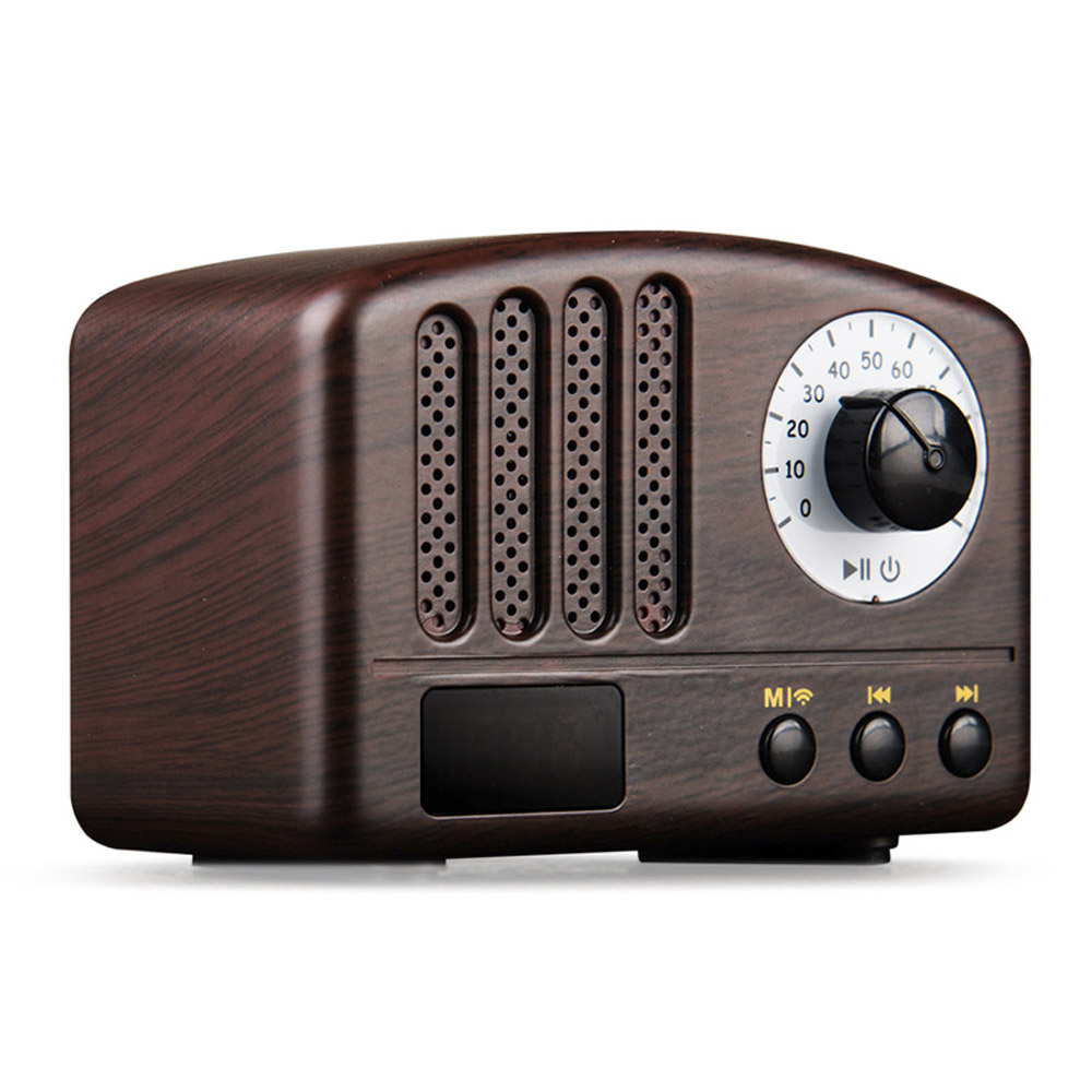 Mini Retro Bluetooth Speaker FM Radio Mic Portable Handsfree