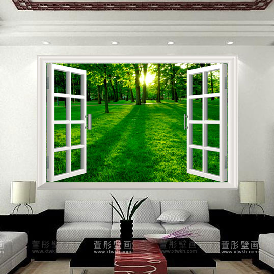 Mural living room tv wall decoration wall wallpaper green ...
