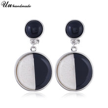 Earring Wholesale Acetic Acrylic Earrings 2 Items black&White Round Acrylic Dangle Earrings 2018 New Arrivals Fashion Jewelry(China)