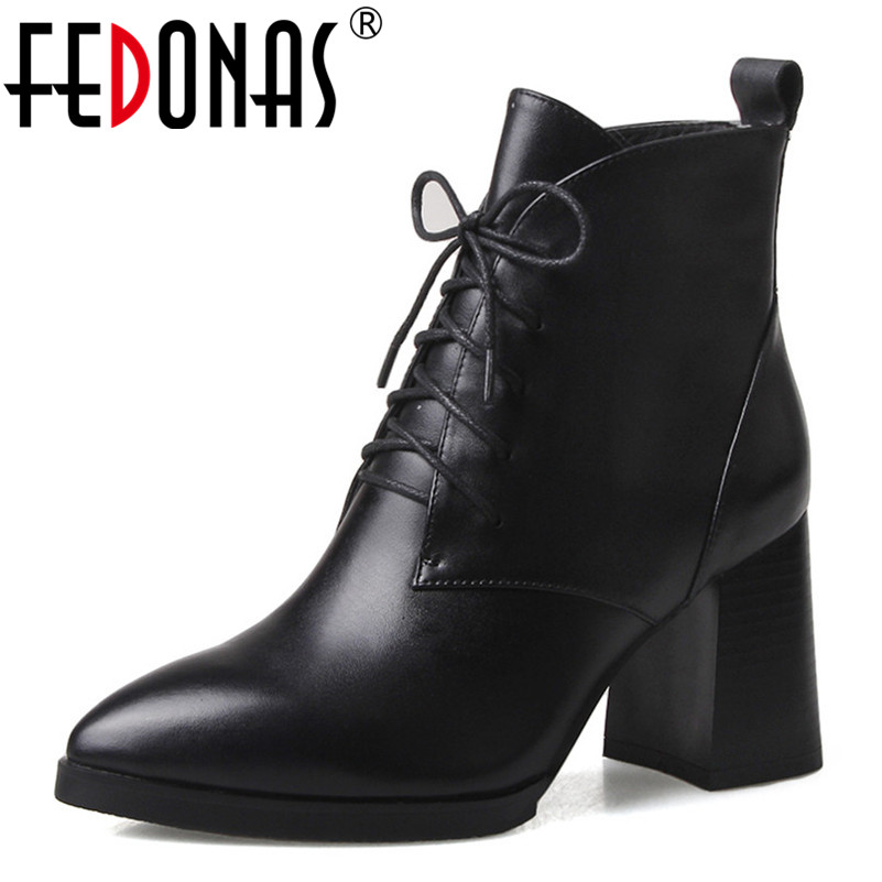 FEDONAS 2019 New Autumn Winter Women Boots Female Lace Up Martin Shoes Woman Vintage Fashion Short Boots Pointed Toe Pumps fedonas women pumps fashion sexy pointed toe lace up high heel women shoes woman retro euro style pumps female autumn new shoes
