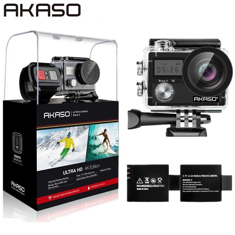 AKASO Action Extérieure Caméra Courageux 4 WIFI 4 K HD Étanche Caméscope Plongée Sous-Marine Vélo Casque Vidéo Cam pour Extrême sport