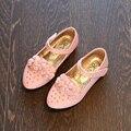 Party girls shoes crianças crianças princesa vestido da menina de flor de couro sapato primavera outono tamanho 26 ~ 35 para 3 ~ 14 anos 2017 moda KK20