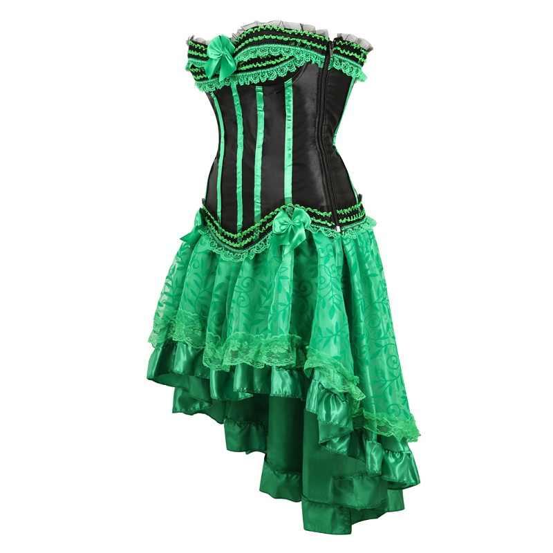 Модные Вечерние Платья зеленый сексуальное платье с корсетом комплект для женщин; Большие размеры корсеты и бюстье юбка-пачка полосатый приталенное, Корректирующее Топ