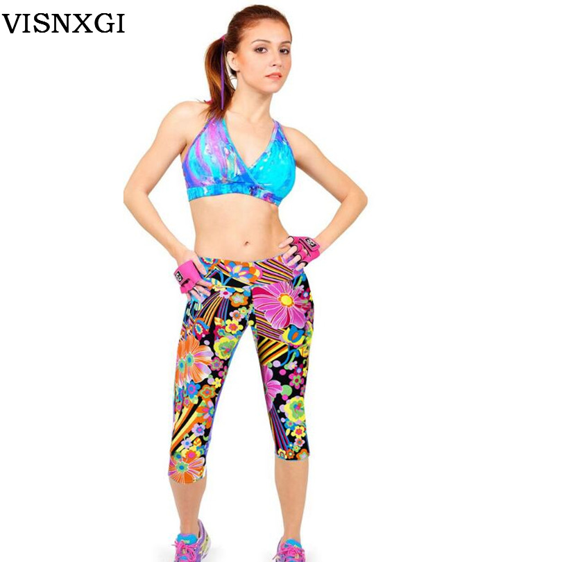 2017 New 14 Color Summer Women Fashion Knitted Cotton Waist In The Waist Prints Leggings Waist Section Of Seven Points Leggings