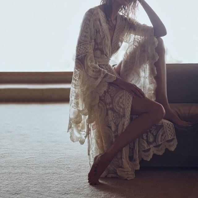 TWOTWINSTYLE Embroidery Lace Women's Shirt Flare Sleeve Maxi Blouse Female 2019 Summer Fashion Holiday Style Clothing Plus Sizes 1