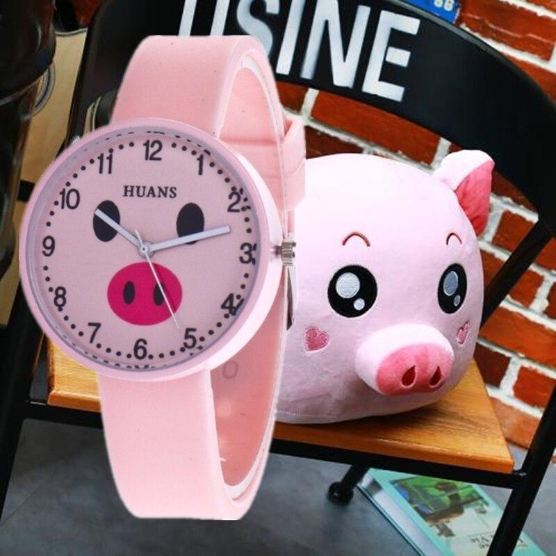 A New Jelly Children's Watch Cartoon Cute Little Girl Piggy Student Couple Tiny Fresh Quartz Watch