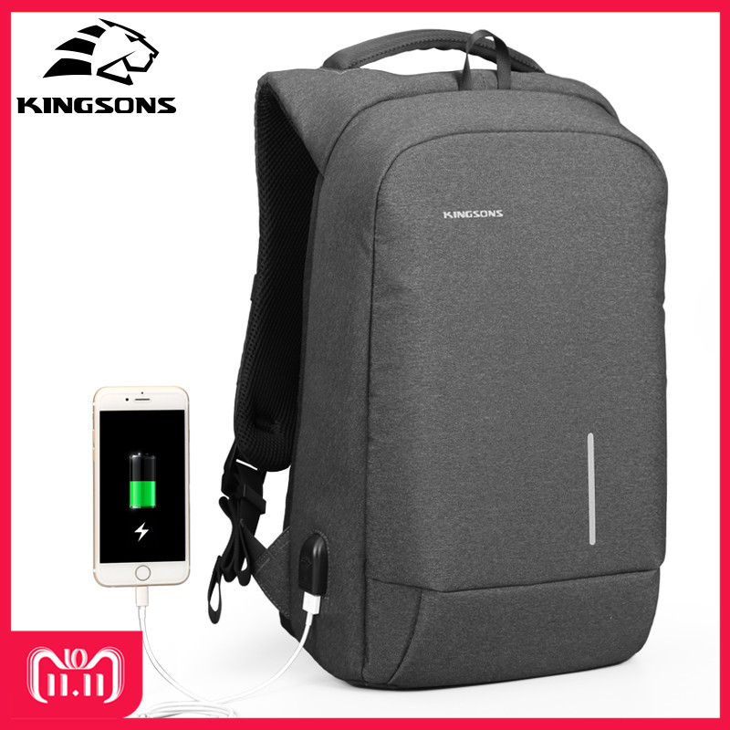 Kingsons 13.3 15.6 Inches Men Women Laptop Backpack External USB Charge Anti-theft Wearable Waterproof Backpacks Fashion Bags kingsons 1517 laptop backpack external usb charge computer backpacks anti theft waterproof bags for men women2018new