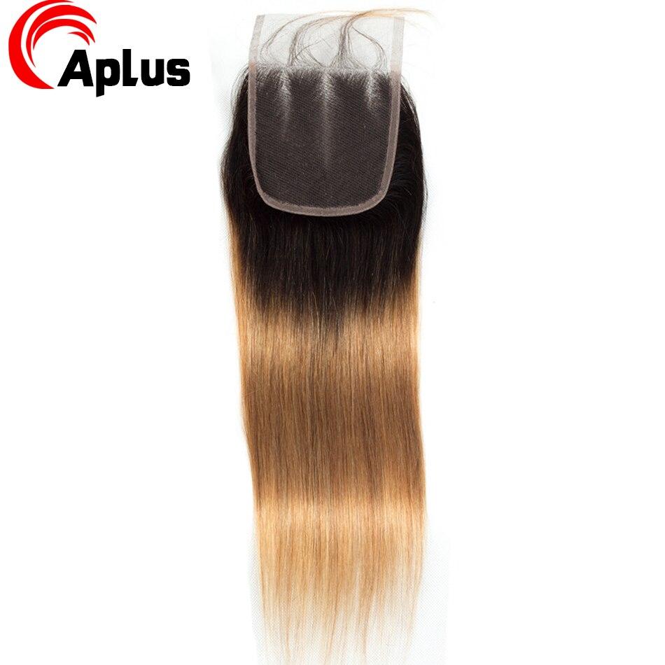 HTB16fkWKXGWBuNjy0Fbq6z4sXXag Aplus Hair Peruvian Ombre Bundles With Closure Straight 1B/27 Honey Blonde Bundles With Closure NonRemy Human Hair Weave Closure