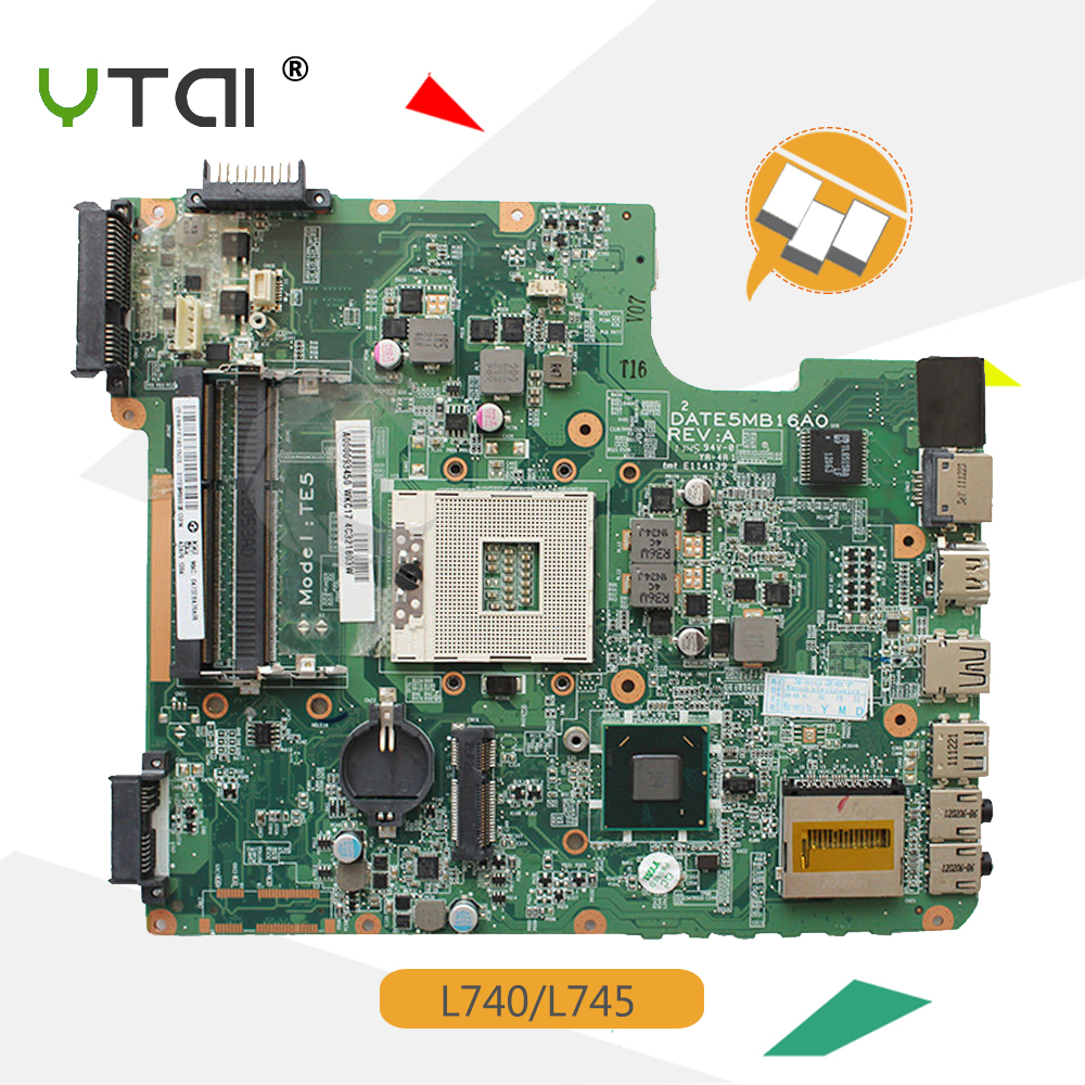 YTAI L740 A000093450 HM65 DATE5MB16A0 Mainboard for Toshiba Satellite L740 L745 Laptop Motherboard A000093450 HM65 DATE5MB16A0 nokotion sps v000198120 for toshiba satellite a500 a505 motherboard intel gm45 ddr2 6050a2323101 mb a01