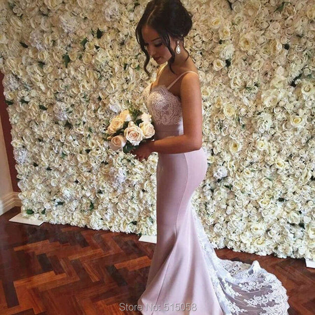 703bd29dca1 White Lace Appliques Sweetheart Long Nude Pink Prom Dresses Mermaid  Spaghetti Straps Evening Gowns