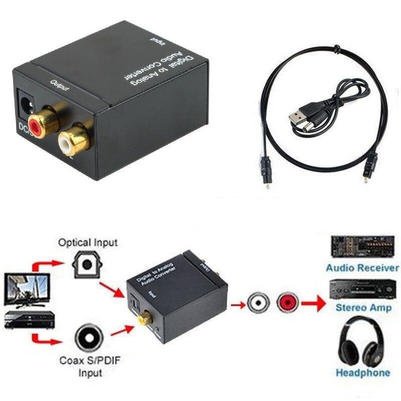 Cewaal Digital Optical Toslink SPDIF Coax To Analog RCA Audio Converter Adapter Black Digital To Analog Audio Converter