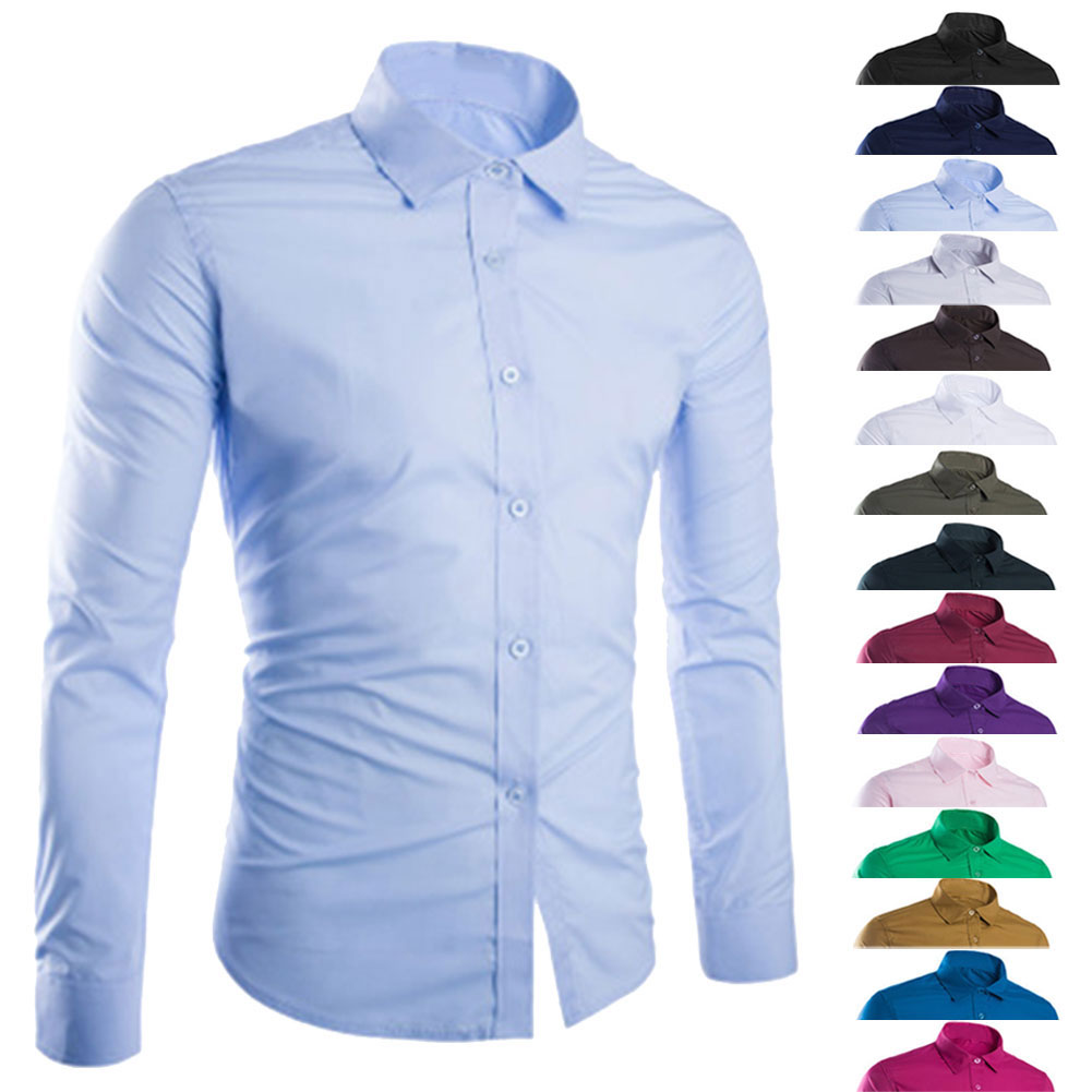Fashion Spring Autumn Men Shirt Long Sleeve Solid Color Easy-care Anti Crease Man Casual Shirts M-3XL FS99