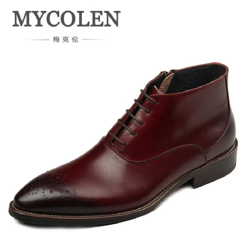 MYCOLEN Brand New Arrival Printing Men Boots High Quality Male Ankle Boots Casual Men Autumn Shoes Brogue Zapatos Hombre mycolen new autumn winter men black casual shoes men high tops fashion hip hop shoes zapatos de hombre leisure male botas
