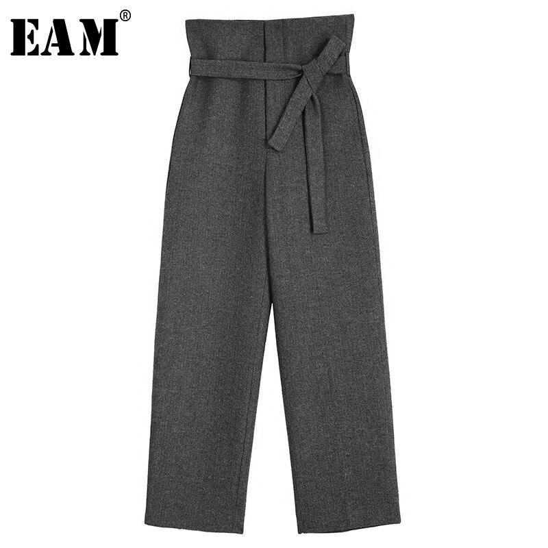 [EAM] 2018 Новый Осень Для женщин мода прилив сплошной Цвет темперамент максимумы регулируемый пояс свободно Повседневное прямые брюки дикий ...
